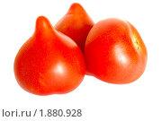 Три помидора на белом фоне. Стоковое фото, фотограф Звягинцев Сергей / Фотобанк Лори