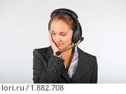 Купить «Девушка на работе, болят зубы», фото № 1882708, снято 3 августа 2010 г. (c) Татьяна Юни / Фотобанк Лори