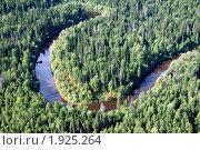 Воздушный вид на таежную реку. Стоковое фото, фотограф Владимир Мельников / Фотобанк Лори