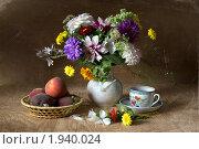 Купить «Натюрморт с персиками, чашкой чая и букетом», фото № 1940024, снято 23 августа 2010 г. (c) Julia Ovchinnikova / Фотобанк Лори