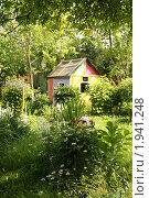 Купить «Яркий детский домик на дачном участке», фото № 1941248, снято 27 июня 2010 г. (c) Галина Бурцева / Фотобанк Лори