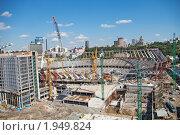 Реконструкция стадиона Олимпийский, Киев, Украина (2010 год). Редакционное фото, фотограф Павел Савин / Фотобанк Лори