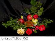 Купить «Фрукты и мед на темном фоне», фото № 1953752, снято 20 августа 2010 г. (c) Владимир Фаевцов / Фотобанк Лори