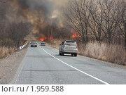 Автомобили едут через горящий лес. Стоковое фото, фотограф Артём Скороделов / Фотобанк Лори