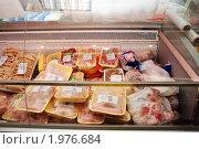 Купить «Витрина продуктового магазина: мясные полуфабрикаты», фото № 1976684, снято 15 сентября 2010 г. (c) Анна Мартынова / Фотобанк Лори