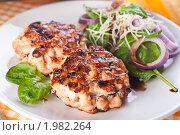 Купить «Рыбные котлеты из семги с салатом из шпината под соусом», фото № 1982264, снято 8 июня 2010 г. (c) Лидия Рыженко / Фотобанк Лори