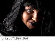 Купить «Готичная брюнетка в кожаной куртке», фото № 1997364, снято 7 сентября 2010 г. (c) Влад Нордвинг / Фотобанк Лори