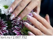 Купить «Женские руки с рисунком на ногтях над букетом хризантем», фото № 2007152, снято 23 сентября 2010 г. (c) Татьяна Белова / Фотобанк Лори