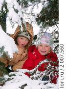Купить «Дети в зимнем парке», фото № 2007560, снято 21 февраля 2010 г. (c) Юрий Брыкайло / Фотобанк Лори