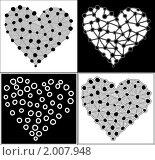 Купить «Четыре чёрно-белых сердца», иллюстрация № 2007948 (c) Татьяна Васина / Фотобанк Лори