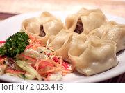 Купить «Китайские пельмени с острым салатом», фото № 2023416, снято 1 октября 2010 г. (c) Никита Жигелев / Фотобанк Лори