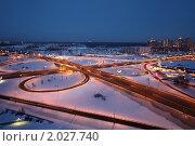 Купить «Зимний ночной пейзаж с транспортной развязкой», фото № 2027740, снято 23 февраля 2010 г. (c) Losevsky Pavel / Фотобанк Лори
