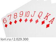 Купить «Игральные карты  бубновой масти», фото № 2029300, снято 11 декабря 2009 г. (c) Losevsky Pavel / Фотобанк Лори