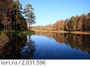 Купить «Деревья на берегу озера отражаются в воде», эксклюзивное фото № 2031596, снято 7 октября 2010 г. (c) Яна Королёва / Фотобанк Лори