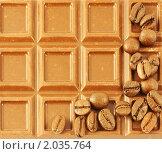 Кофейные зерна на плитке шоколада. Стоковое фото, фотограф Сергей Плахотин / Фотобанк Лори