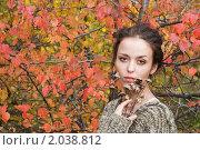 Купить «Девушка с сухими цветами на фоне красной листвы», фото № 2038812, снято 20 сентября 2009 г. (c) Лагутин Сергей / Фотобанк Лори