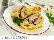 Купить «Мясо с грибами, запечённое в тесте», фото № 2045088, снято 9 октября 2010 г. (c) Влад Нордвинг / Фотобанк Лори