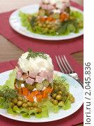 Купить «Салат оливье», фото № 2045836, снято 12 октября 2010 г. (c) Влад Нордвинг / Фотобанк Лори