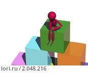 Купить «Задумчивый человечек сидит на высоте», иллюстрация № 2048216 (c) Константин Тавров / Фотобанк Лори