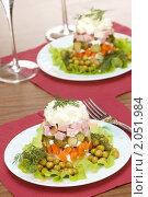Купить «Салат оливье», фото № 2051984, снято 12 октября 2010 г. (c) Влад Нордвинг / Фотобанк Лори