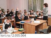 Купить «Учитель ведёт урок в начальной школе», фото № 2055064, снято 26 апреля 2010 г. (c) Федор Королевский / Фотобанк Лори