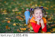 Купить «Улыбающаяся девочка лежит на траве усыпанной опавшими листьями», фото № 2055416, снято 17 сентября 2010 г. (c) Юлия Шилова / Фотобанк Лори