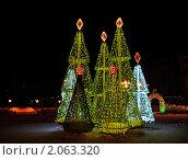 Купить «Новогодние ели из гирлянд в Нижневартовске», фото № 2063320, снято 14 августа 2018 г. (c) Елена Киселева / Фотобанк Лори