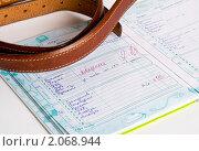 Купить «Ремень на дневнике  с двойкой по поведению», эксклюзивное фото № 2068944, снято 17 октября 2010 г. (c) Макарова Елена / Фотобанк Лори