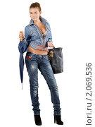 Купить «Девушка с зонтом», фото № 2069536, снято 1 сентября 2009 г. (c) Сергей Сухоруков / Фотобанк Лори