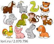 Купить «Животные -  символы китайского гороскопа», иллюстрация № 2070796 (c) Лукиянова Наталья / Фотобанк Лори