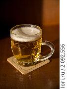 Купить «Пивная кружка на подставке», фото № 2092556, снято 15 апреля 2009 г. (c) Elisanth / Фотобанк Лори