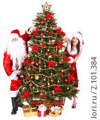 Купить «Санта Клаусы у новогодней елки», фото № 2101384, снято 17 ноября 2009 г. (c) Gennadiy Poznyakov / Фотобанк Лори