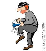 Крадущийся вор с отмычками и фонариком. Иллюстрация. Стоковая иллюстрация, иллюстратор Мозымов Александр / Фотобанк Лори