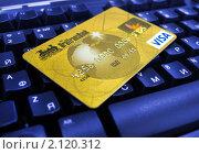 Купить «Пластиковая карта на клавиатуре», эксклюзивное фото № 2120312, снято 29 октября 2010 г. (c) Евгений Ткачёв / Фотобанк Лори