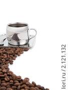 Купить «Чашка кофе и кофейные зерна на белом фоне», фото № 2121132, снято 7 ноября 2010 г. (c) Татьяна Белова / Фотобанк Лори