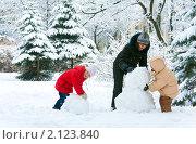 Купить «Семья в зимнем парке», фото № 2123840, снято 21 февраля 2010 г. (c) Юрий Брыкайло / Фотобанк Лори