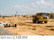 Купить «Строительство автомобильной дороги», эксклюзивное фото № 2128416, снято 12 августа 2010 г. (c) Александр Щепин / Фотобанк Лори