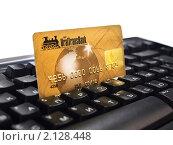 Купить «Пластиковая карта на клавиатуре», эксклюзивное фото № 2128448, снято 29 октября 2010 г. (c) Евгений Ткачёв / Фотобанк Лори