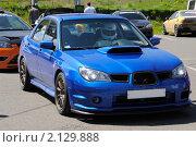 Купить «Синий спортивный автомобиль Subaru с гонщиком за рулем», фото № 2129888, снято 6 июня 2010 г. (c) Юрий Андреев / Фотобанк Лори