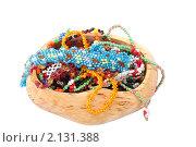 Купить «Изделия из бисера в деревянной шкатулке», фото № 2131388, снято 9 ноября 2010 г. (c) Ирина Смирнова / Фотобанк Лори
