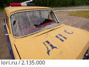 Старый разбитый автомобиль ДПС. Стоковое фото, фотограф Евгений Дубинчук / Фотобанк Лори