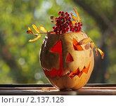 Тыква и рябиновая ветвь к празднику Halloween. Стоковое фото, фотограф Yury Ivanov / Фотобанк Лори