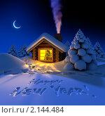 Купить «Деревянный дом в лесу в новогоднюю ночь», иллюстрация № 2144484 (c) Антон Балаж / Фотобанк Лори