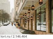 Купить «Фонари. Оформление дома на улице Смоленская. Фрагмент», эксклюзивное фото № 2146464, снято 20 декабря 2009 г. (c) Алёшина Оксана / Фотобанк Лори