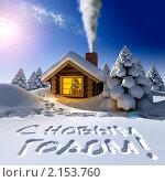 Купить «Домик в сказочном лесу в канун Нового года», иллюстрация № 2153760 (c) Антон Балаж / Фотобанк Лори