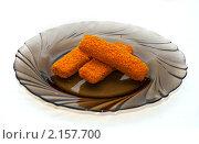 Купить «Рыбные палочки на тарелке», фото № 2157700, снято 23 ноября 2010 г. (c) Куликова Вероника / Фотобанк Лори