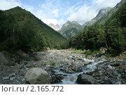 Горная река, Осетия, Алагирское ущелье. Стоковое фото, фотограф Судаков Валентин / Фотобанк Лори