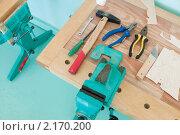 Купить «Верстак и набор инструментов», фото № 2170200, снято 2 ноября 2010 г. (c) Федор Королевский / Фотобанк Лори