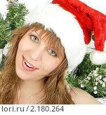 Купить «Девушка с шапке Санта-Клауса», фото № 2180264, снято 27 ноября 2009 г. (c) Jan Jack Russo Media / Фотобанк Лори