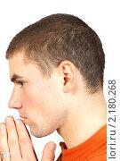 Купить «Портрет человека во время молитвы», фото № 2180268, снято 25 апреля 2019 г. (c) Сергей Колесников / Фотобанк Лори